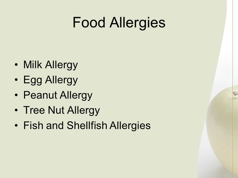 Food Allergies Milk Allergy Egg Allergy Peanut Allergy