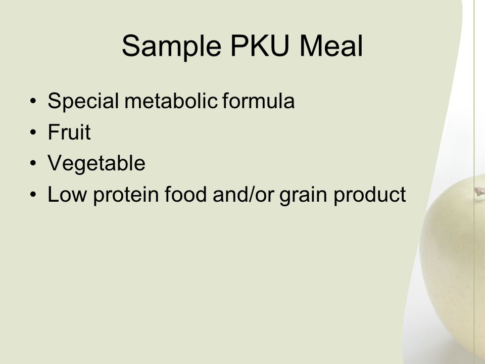 Sample PKU Meal Special metabolic formula Fruit Vegetable