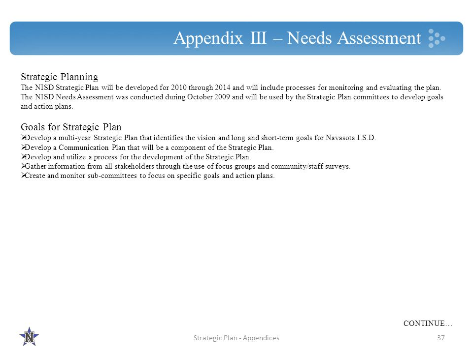 Appendix III – Needs Assessment