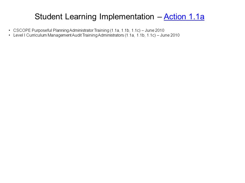 Student Learning Implementation – Action 1.1a