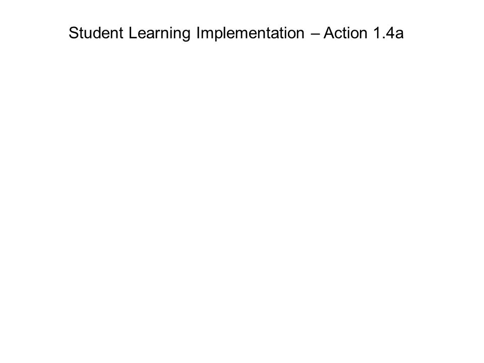 Student Learning Implementation – Action 1.4a