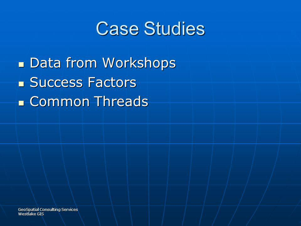 Case Studies Data from Workshops Success Factors Common Threads