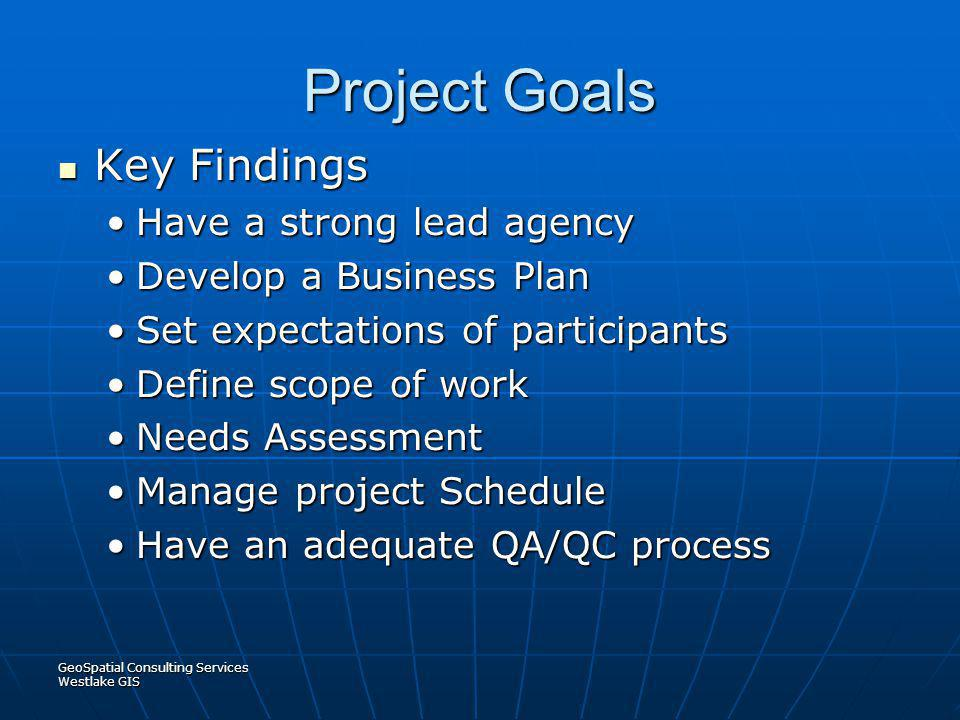 Project Goals Key Findings Have a strong lead agency