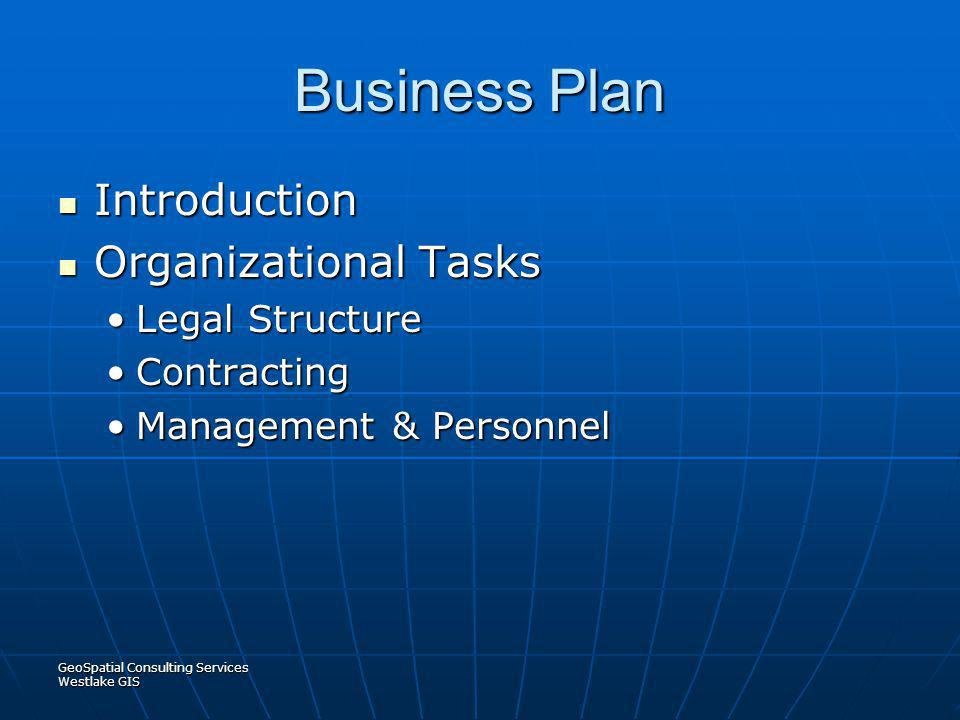 Business Plan Introduction Organizational Tasks Legal Structure