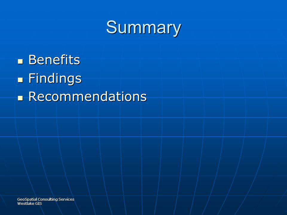 Summary Benefits Findings Recommendations