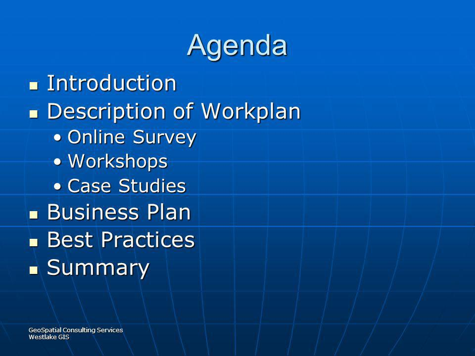 Agenda Introduction Description of Workplan Business Plan