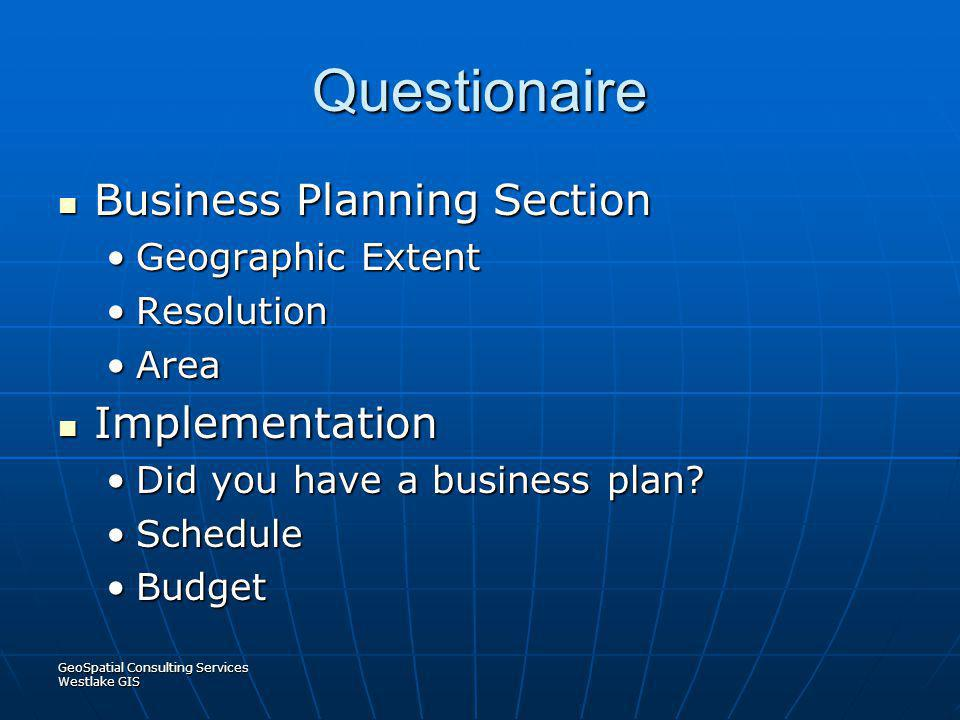 Questionaire Business Planning Section Implementation
