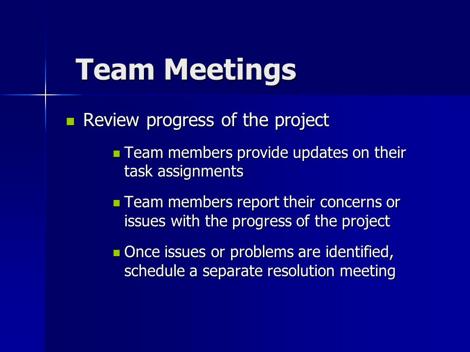 Team Meetings Review progress of the project