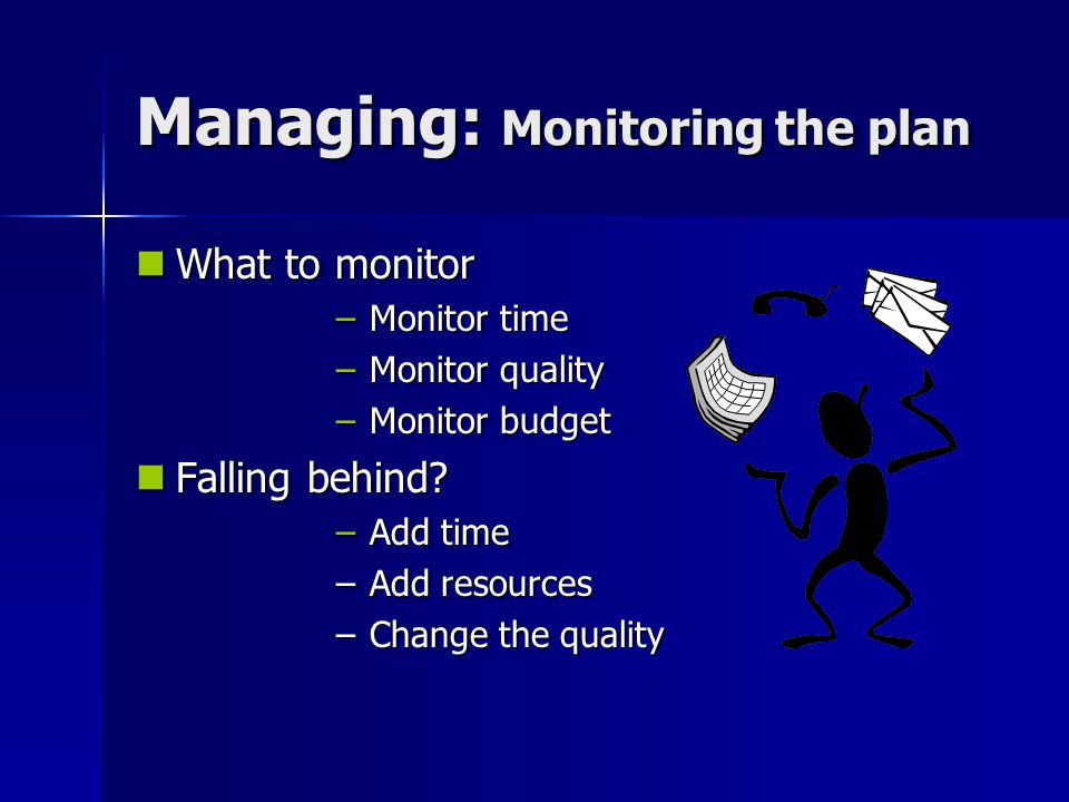 Managing: Monitoring the plan