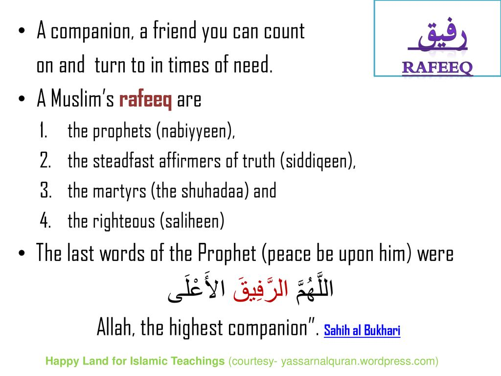 Friends In Qu'ran Happy Land for Islamic Teachings (courtesy