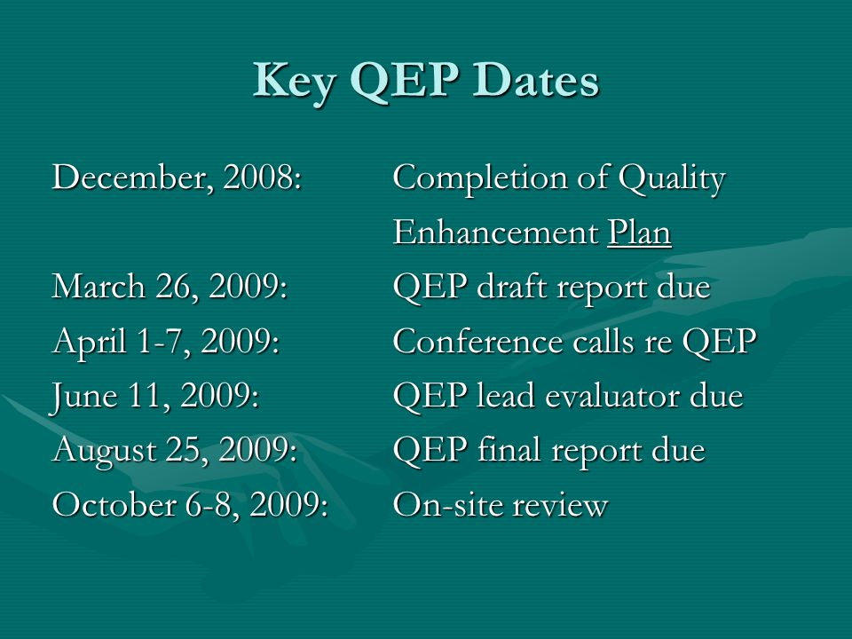 Key QEP Dates December, 2008: Completion of Quality Enhancement Plan