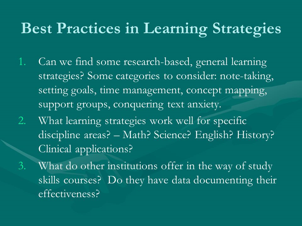 Best Practices in Learning Strategies