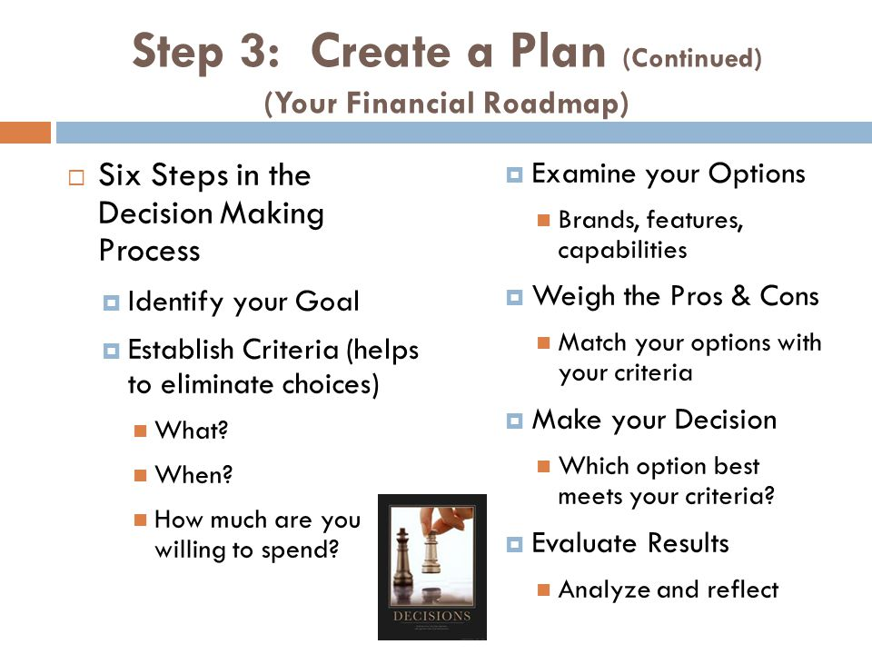 Step 3: Create a Plan (Continued) (Your Financial Roadmap)