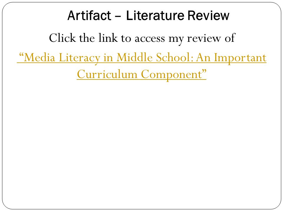 Artifact – Literature Review