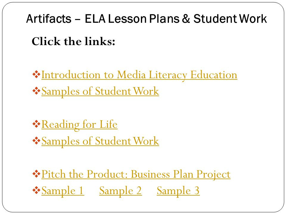Artifacts – ELA Lesson Plans & Student Work