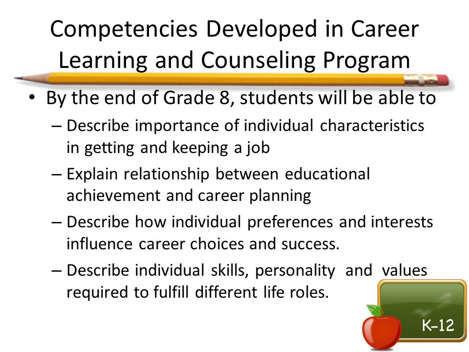 Competencies Developed in Career Learning and Counseling Program