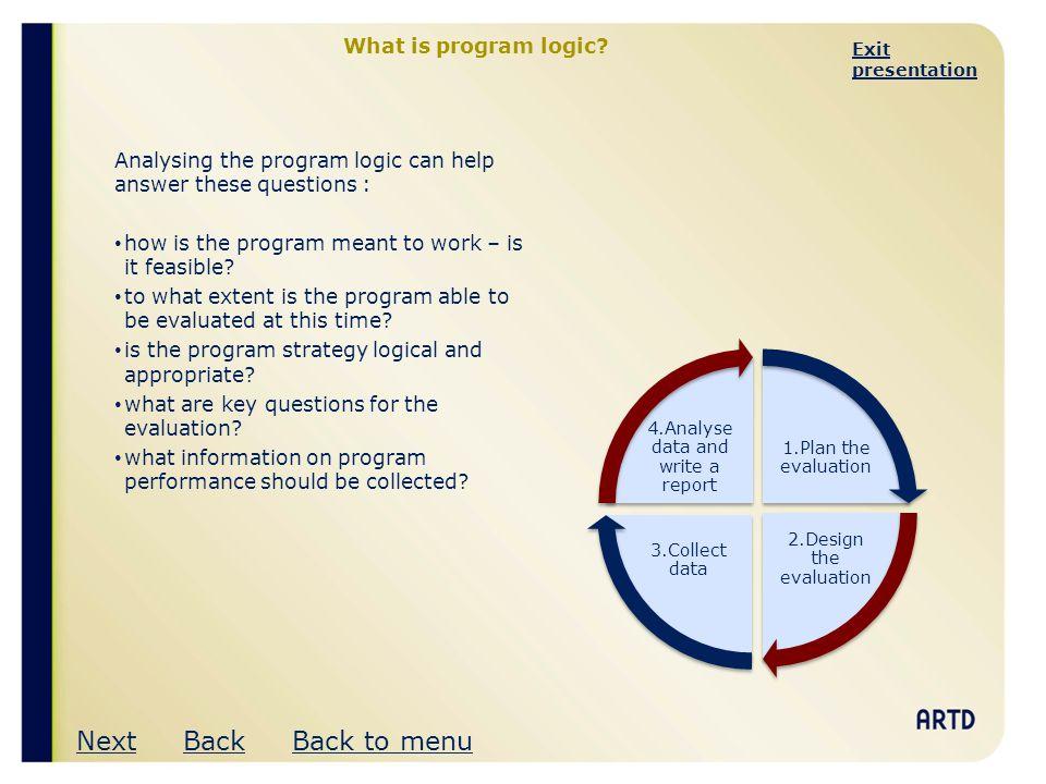 Exit Presentation Program Logic An Introduction Next Ppt Download