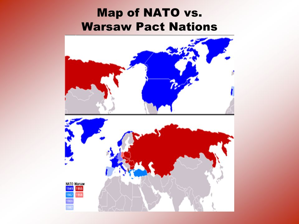 Map of NATO vs. Warsaw Pact Nations
