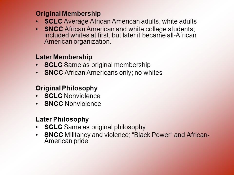 Original Membership SCLC Average African American adults; white adults.