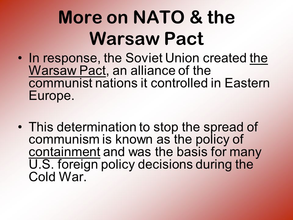 More on NATO & the Warsaw Pact