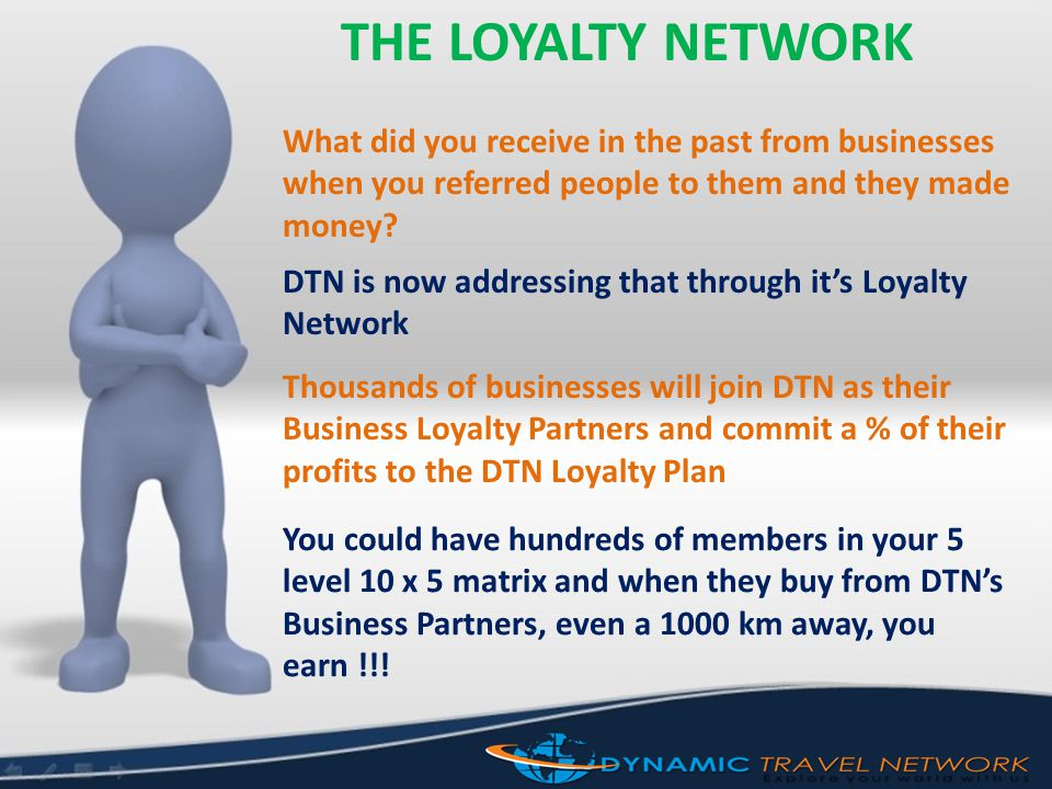 THE LOYALTY NETWORK What did you receive in the past from businesses when you referred people to them and they made money