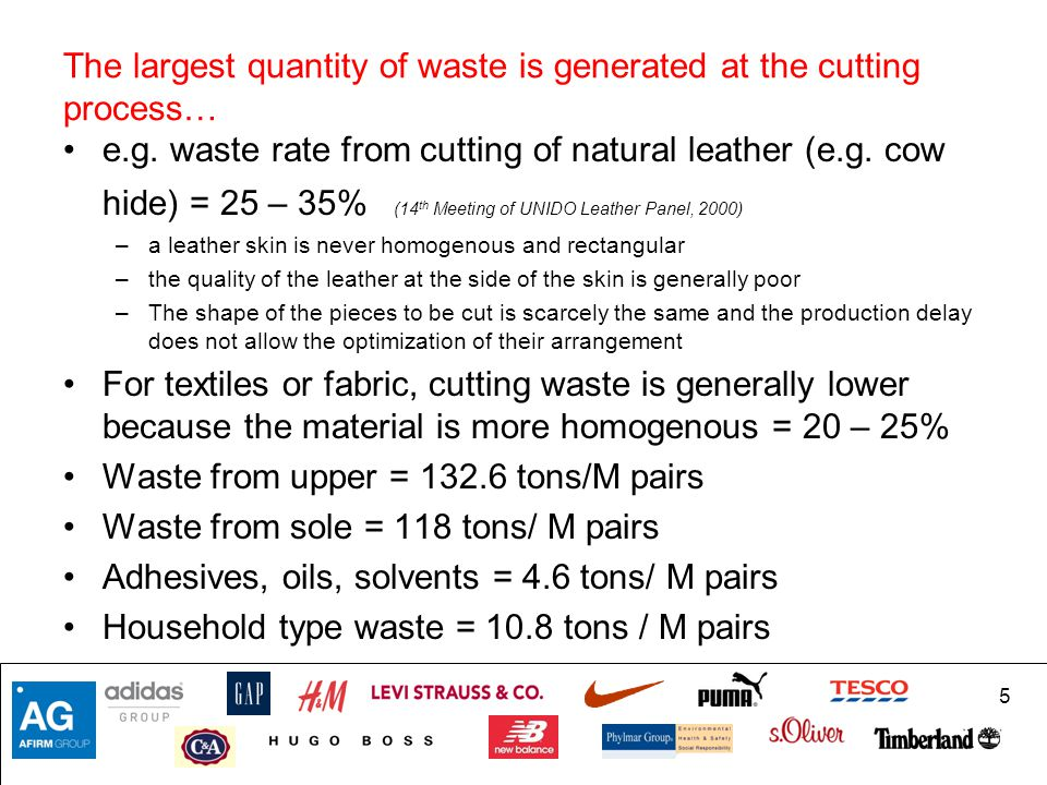 The largest quantity of waste is generated at the cutting process…