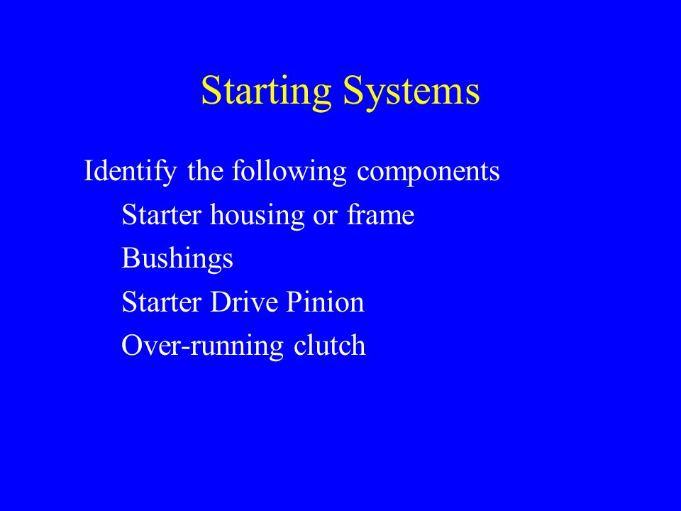 Starting Systems Identify the following components