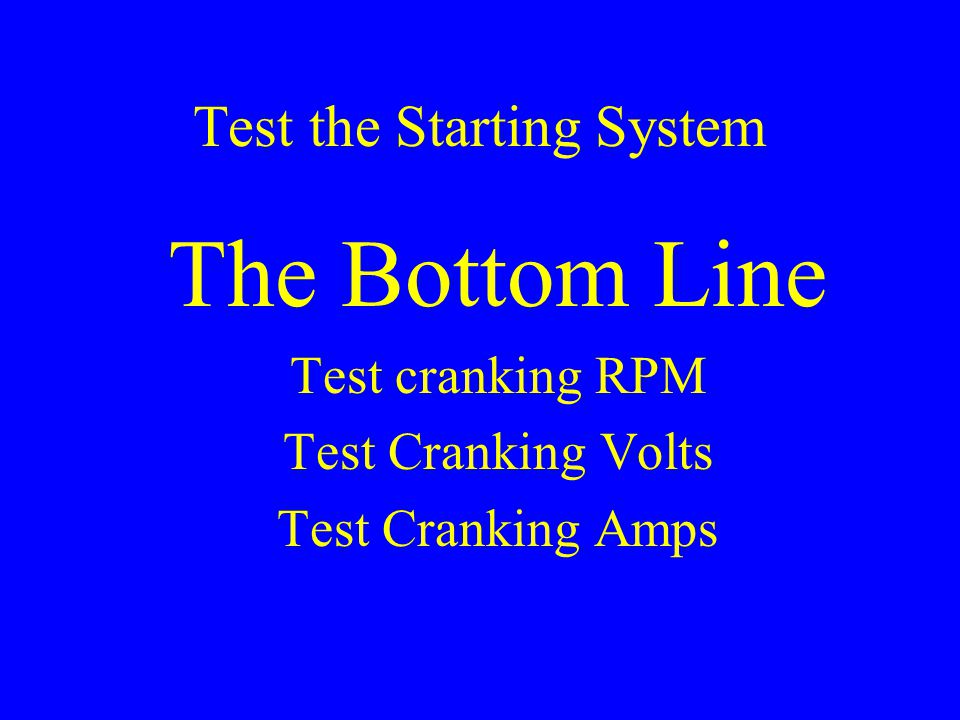 Test the Starting System