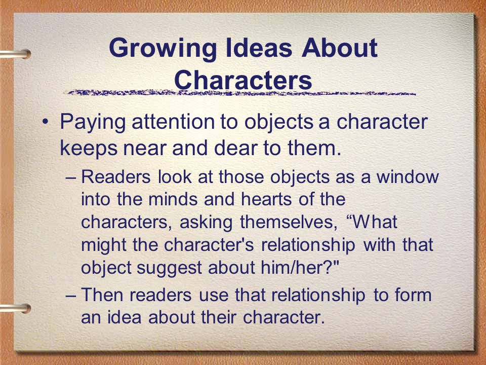 Growing Ideas About Characters