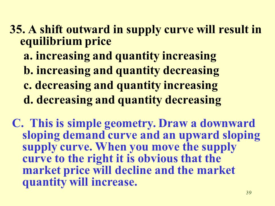 35. A shift outward in supply curve will result in equilibrium price