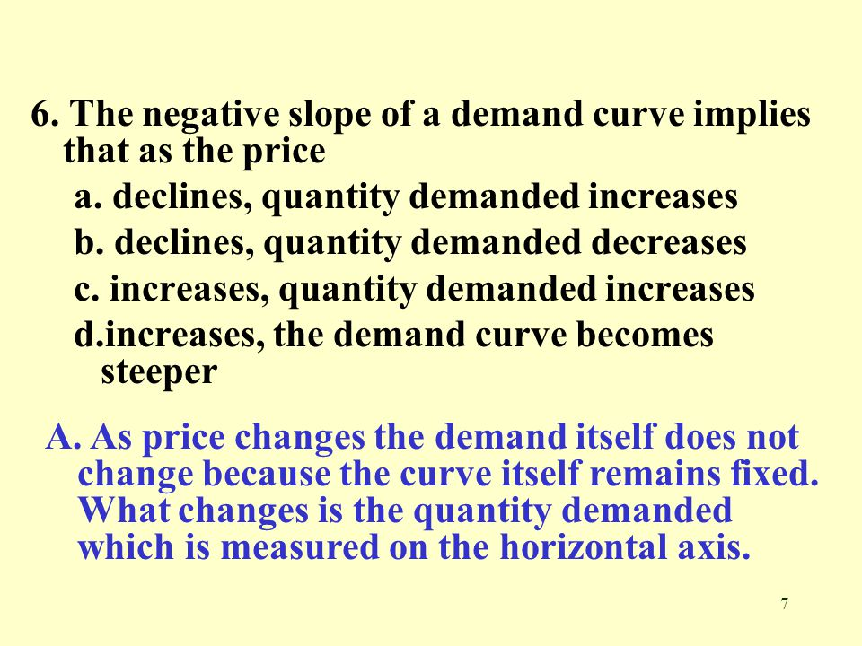 6. The negative slope of a demand curve implies that as the price