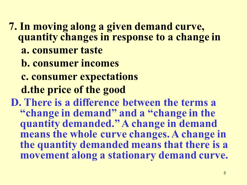 7. In moving along a given demand curve, quantity changes in response to a change in