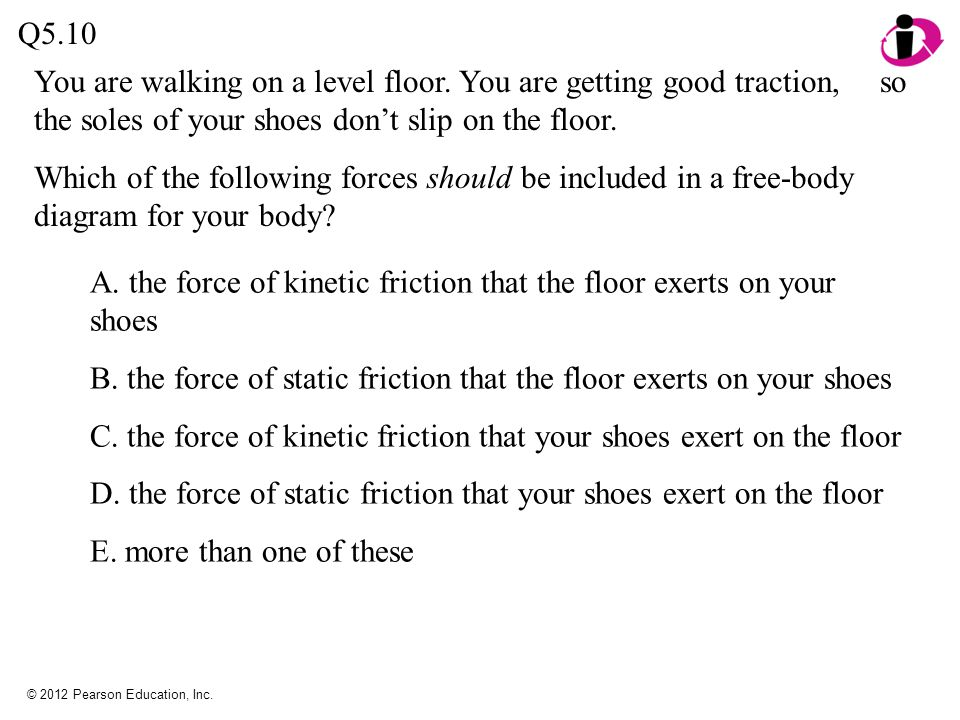 A. the force of kinetic friction that the floor exerts on your shoes