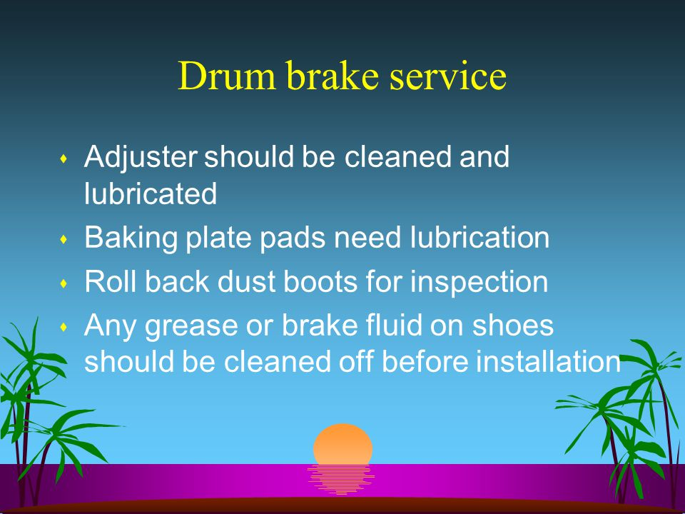 Drum brake service Adjuster should be cleaned and lubricated