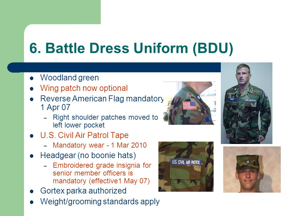 6. Battle Dress Uniform (BDU)