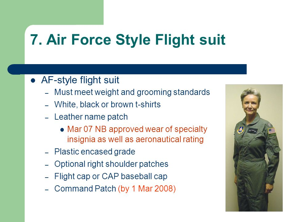 7. Air Force Style Flight suit