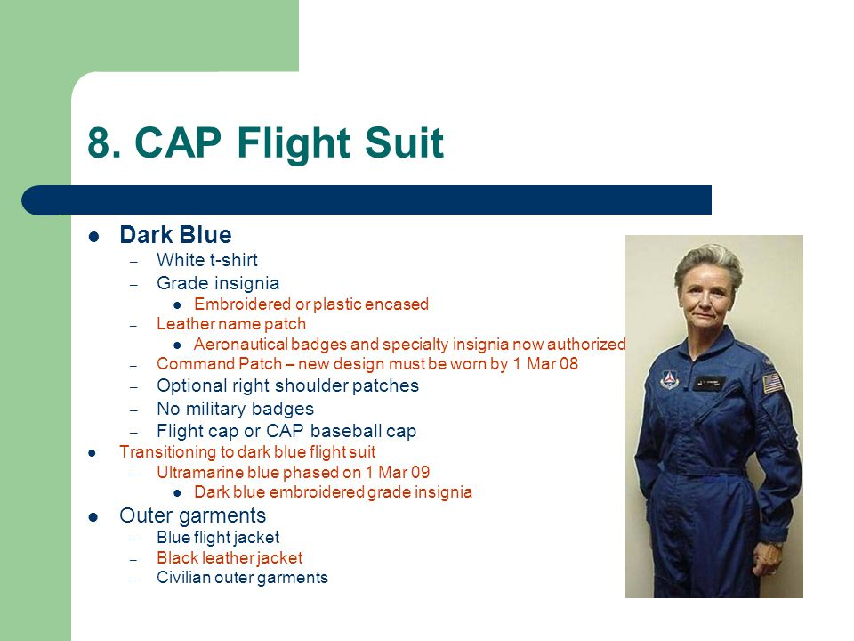 8. CAP Flight Suit Dark Blue Outer garments White t-shirt