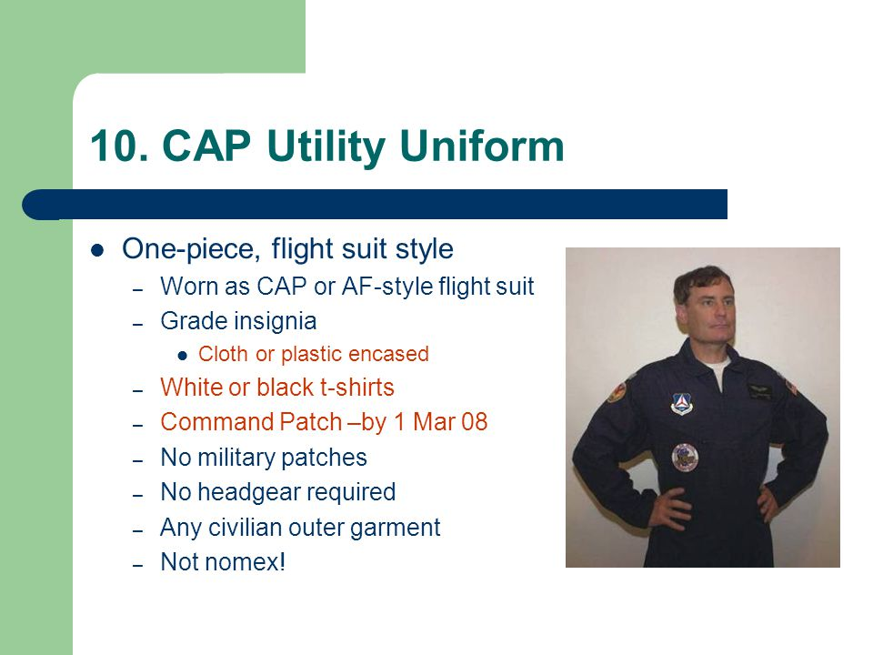 10. CAP Utility Uniform One-piece, flight suit style