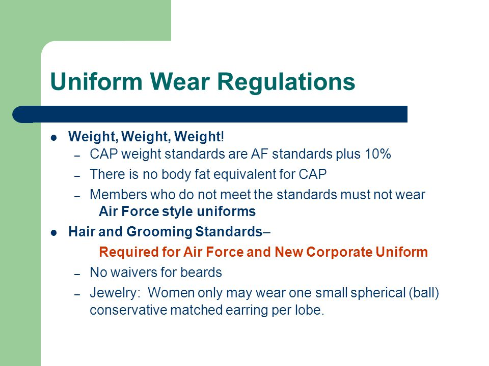 Uniform Wear Regulations