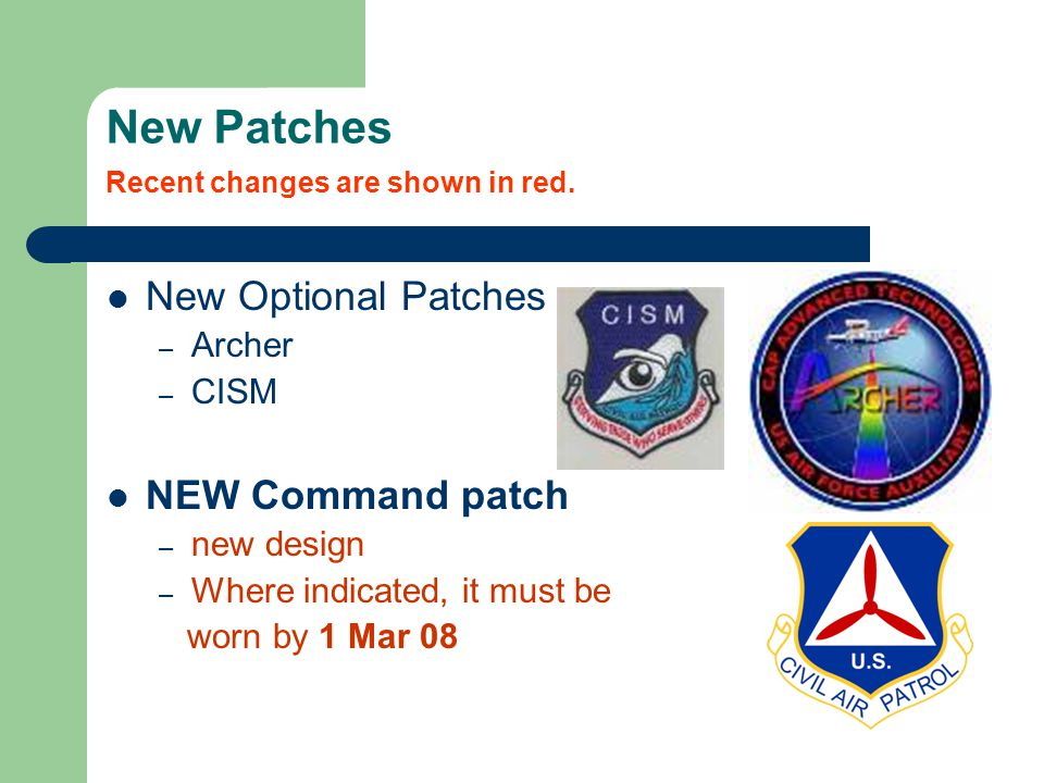 New Patches Recent changes are shown in red.