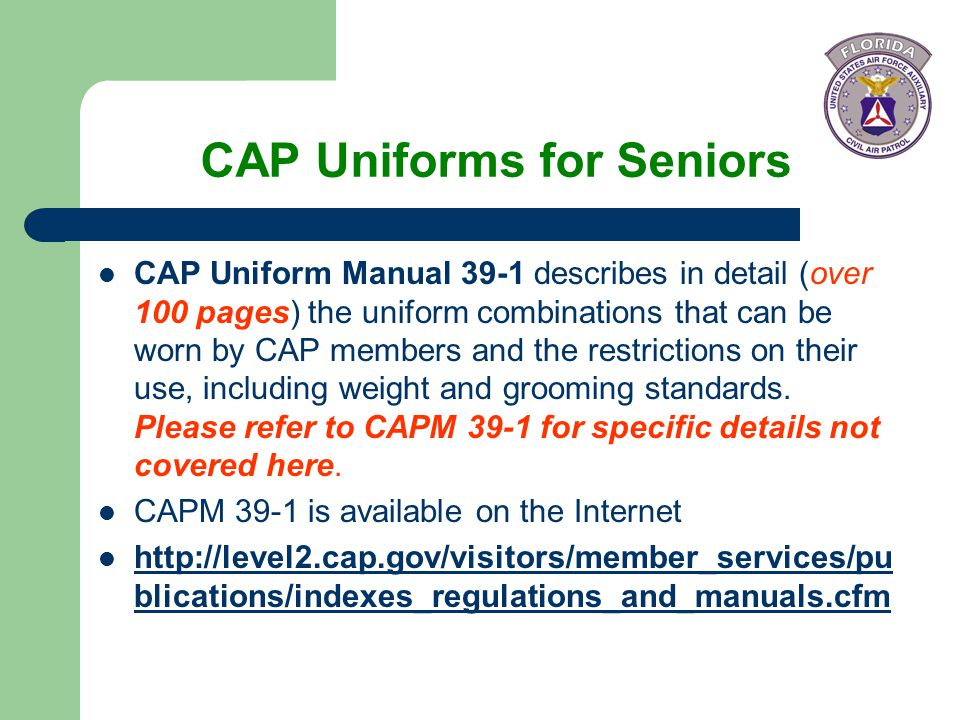CAP Uniforms for Seniors