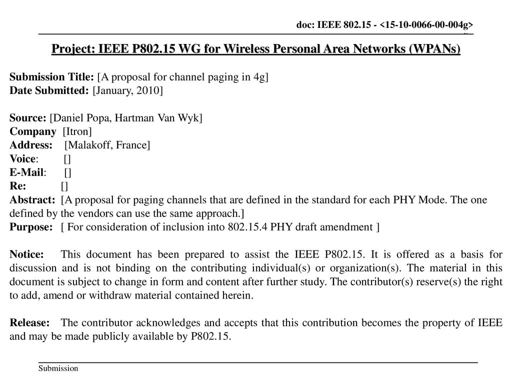 Project: IEEE P WG for Wireless Personal Area Networks (WPANs)