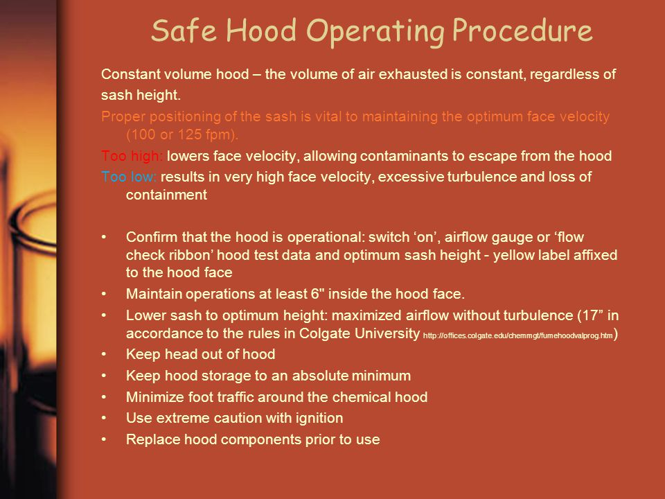 Safe Hood Operating Procedure