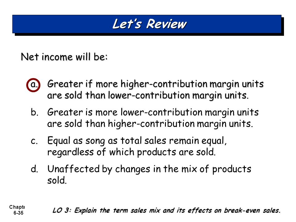 Let's Review Net income will be: