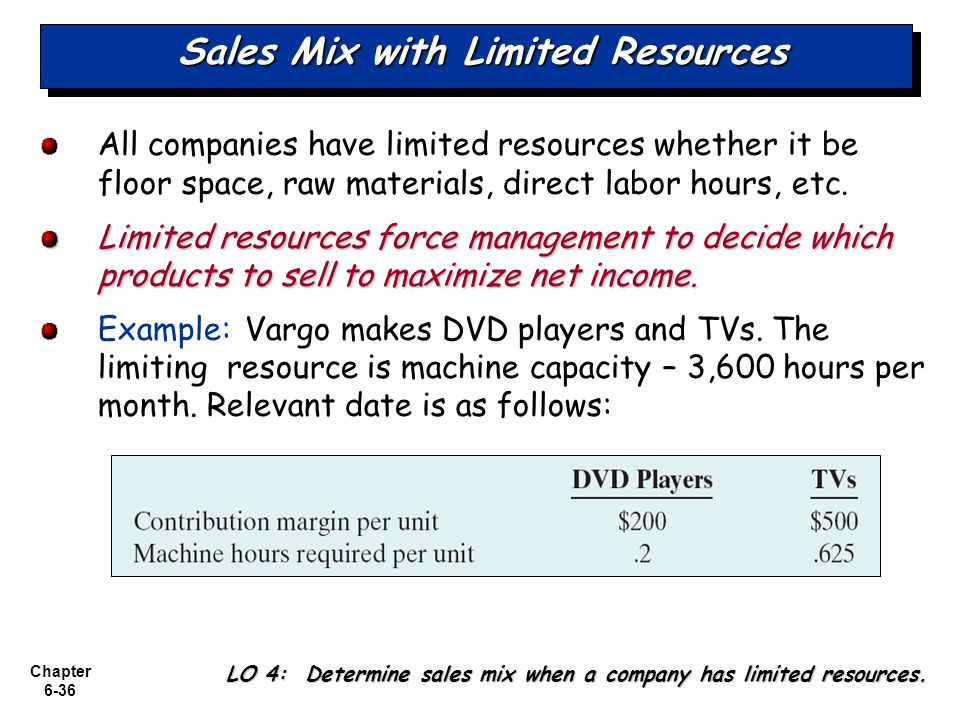 Sales Mix with Limited Resources