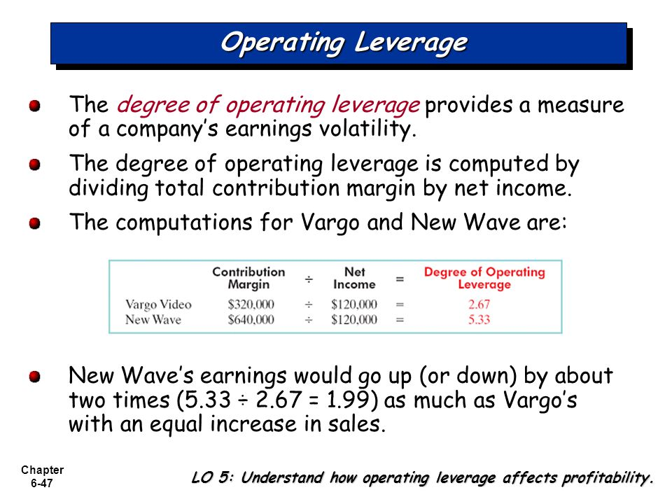 Operating Leverage The degree of operating leverage provides a measure of a company's earnings volatility.