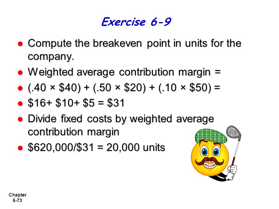 Exercise 6-9 Compute the breakeven point in units for the company. Weighted average contribution margin =
