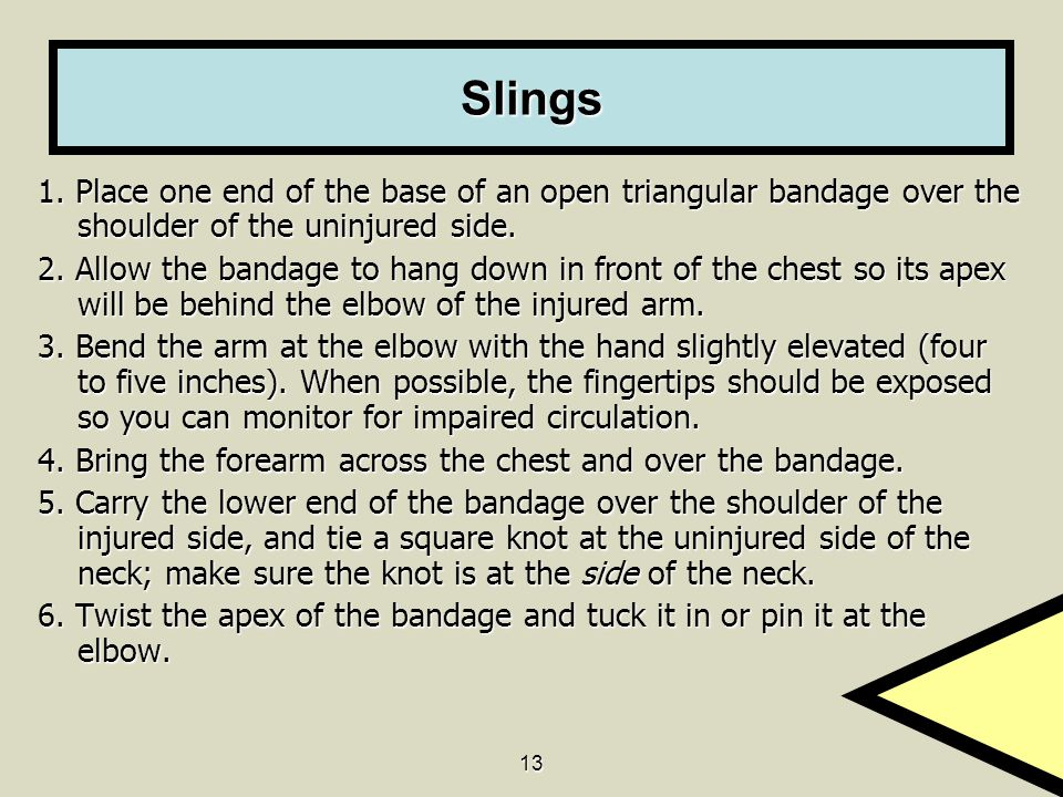 Slings 1. Place one end of the base of an open triangular bandage over the shoulder of the uninjured side.
