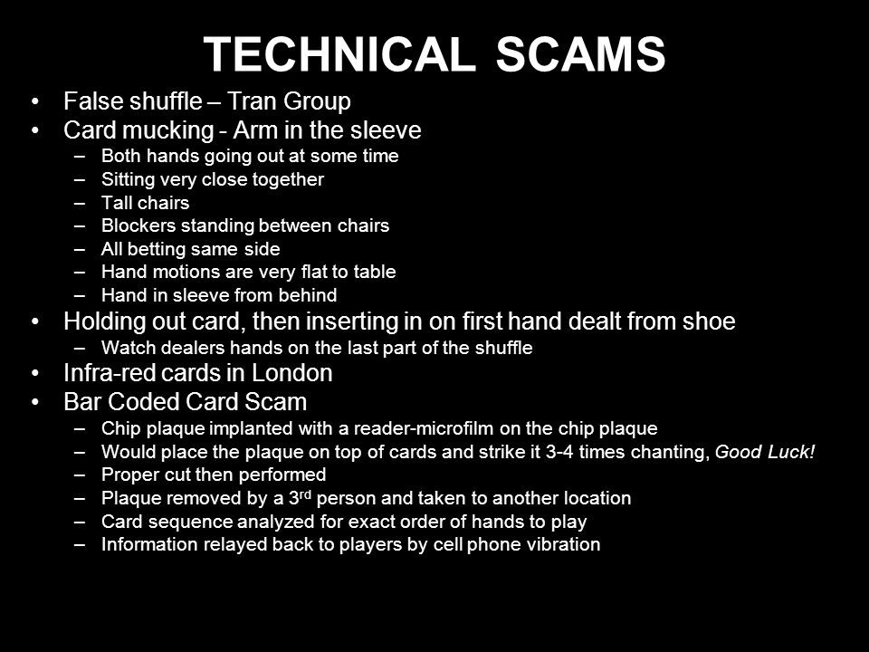 TECHNICAL SCAMS False shuffle – Tran Group