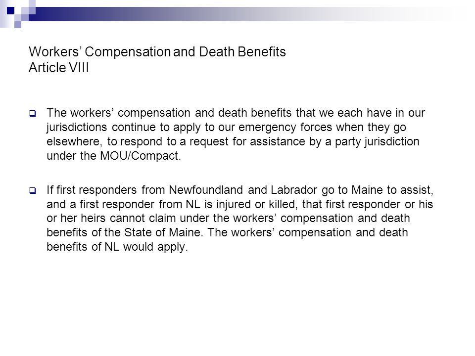 Workers' Compensation and Death Benefits Article VIII